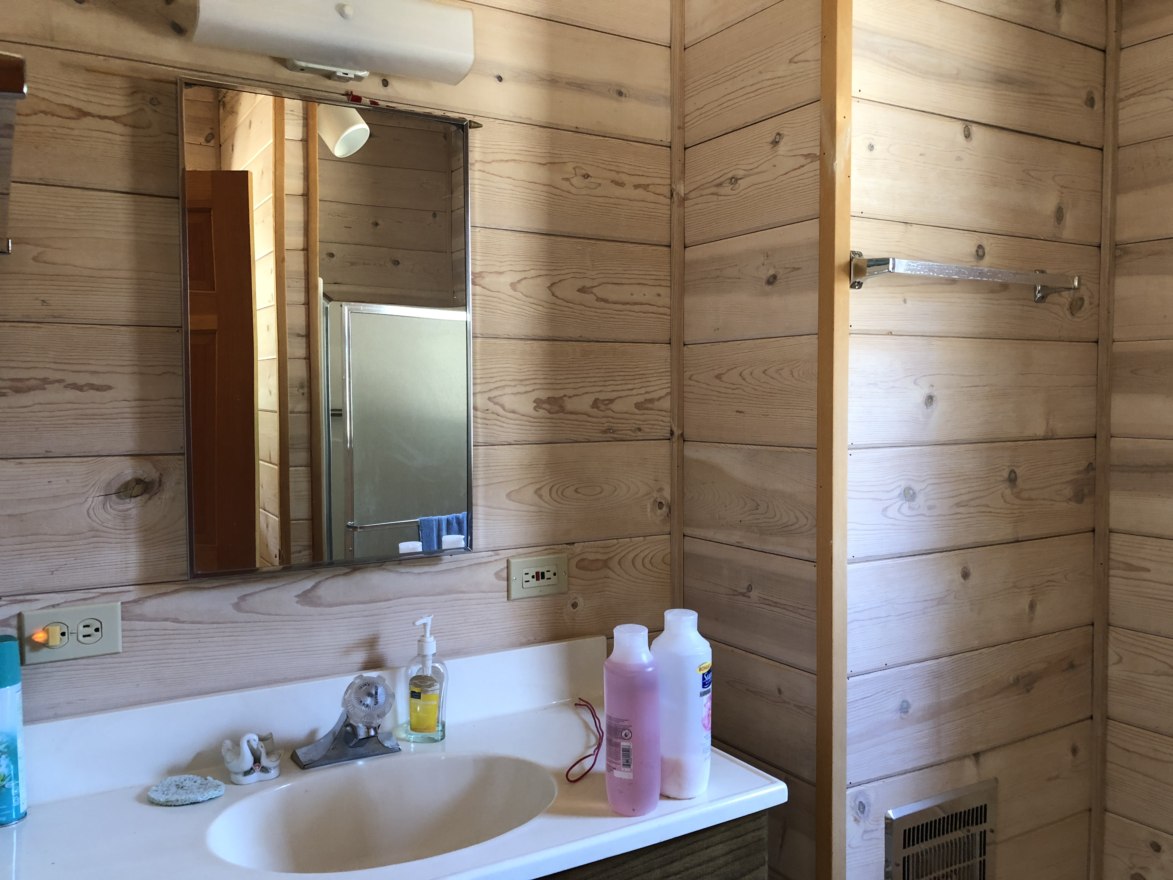 Bath with shower off the workshop