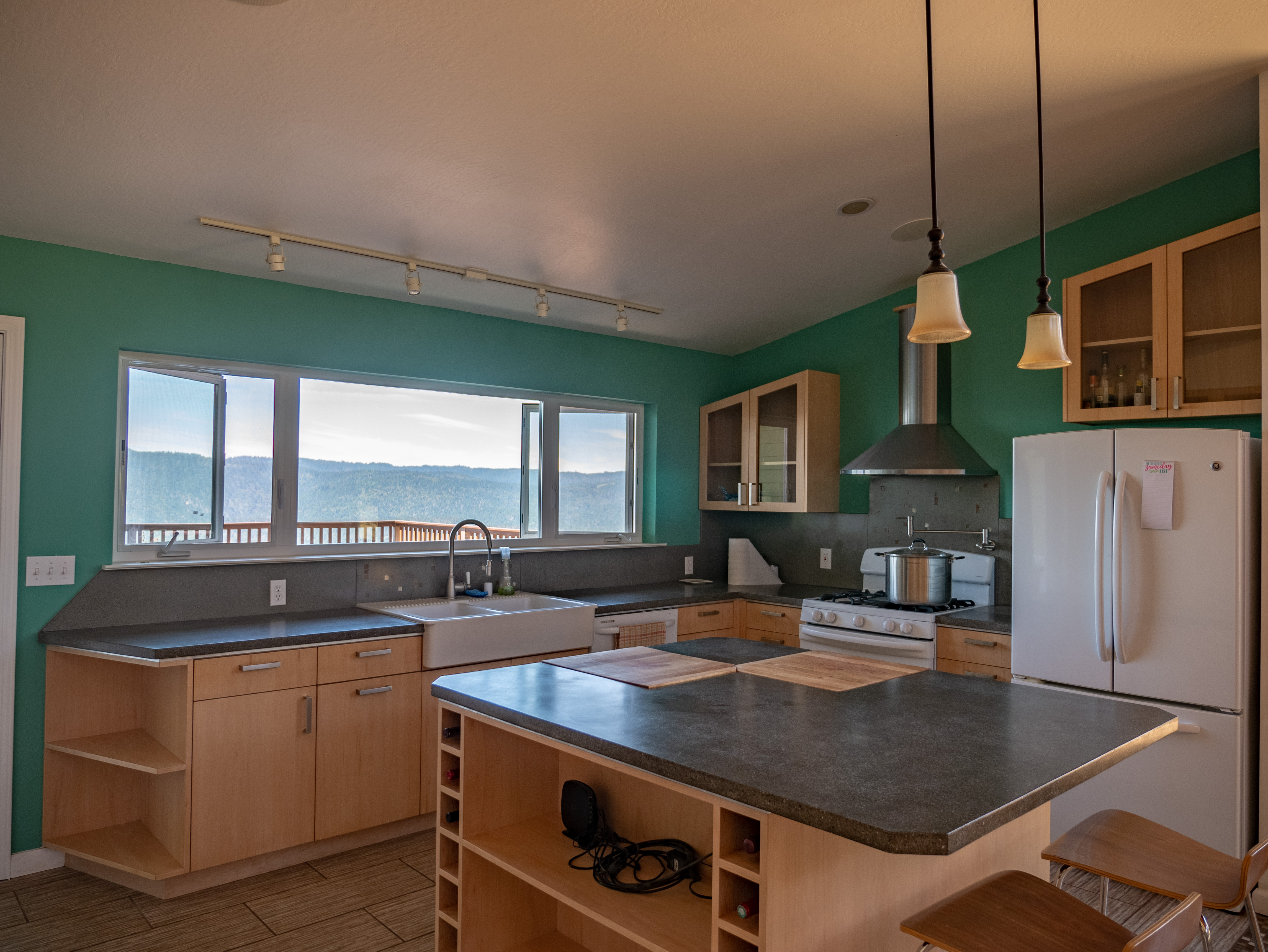 Best view ever from the Kitchen window.  Custom cabinets