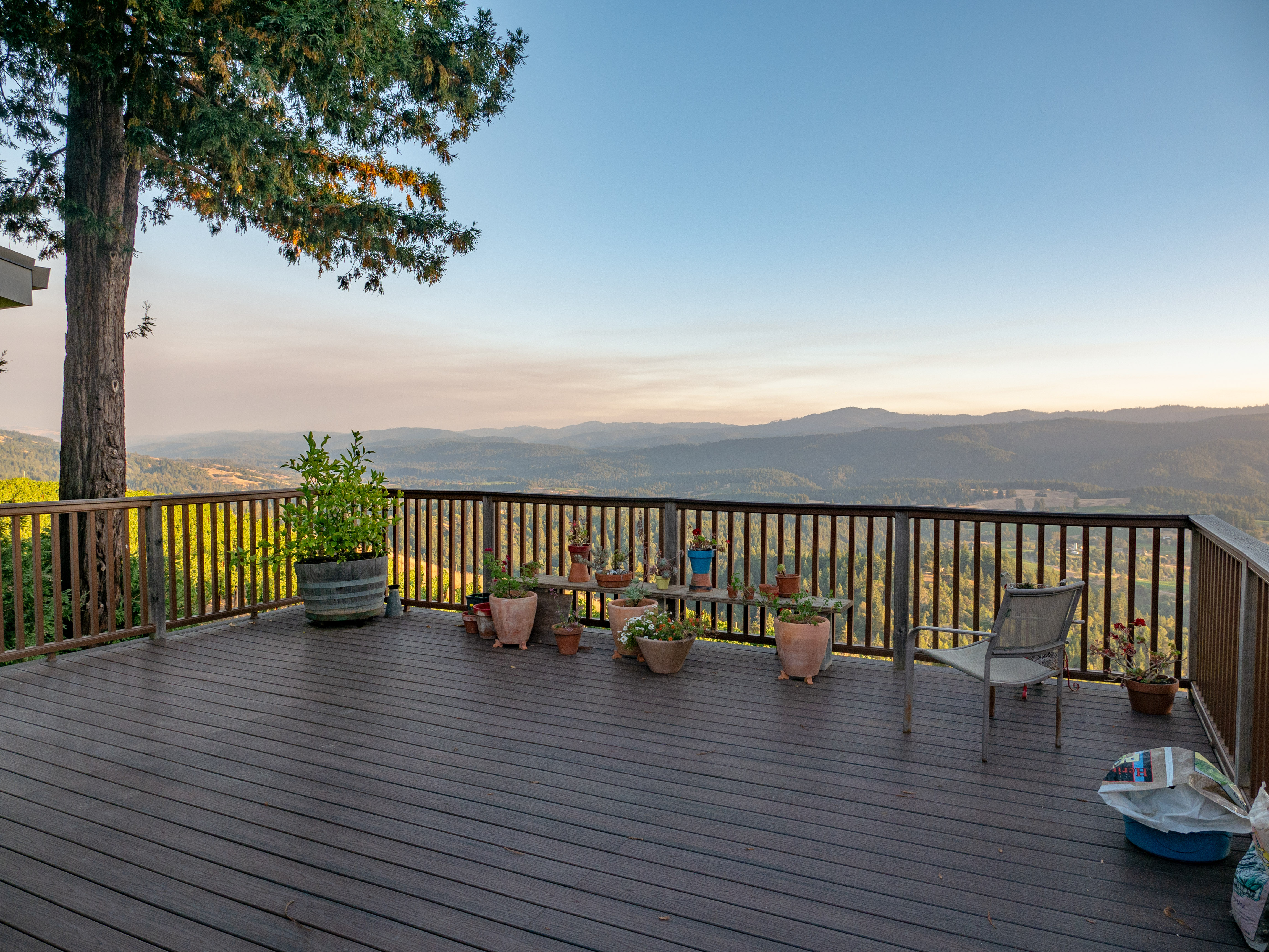 The deck accessed from the kitchen - spectacular views